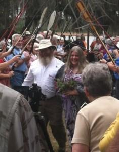 Hiker wedding in the woods