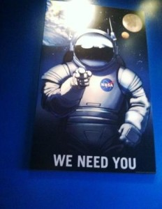 The posters at the Journey to Mars attraction were reminicent of the old Uncle Sam recruitment campaign.