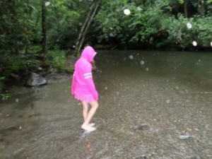 Rain or shine, kids can't resist a creek!