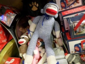 Sock monkeys at Country Mill Crafts and Antiques in Pigeon Forge