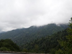 Morning mist covers the mountains at The Great Smoky Mountain National Park