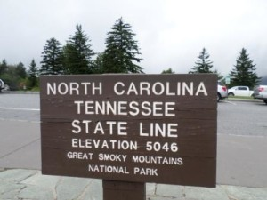 Tennessee-North Carolina State Line at Great Smoky Mountain National Park