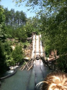 Facing the 67 foot drop at Daredevil falls in Dollywood, TN