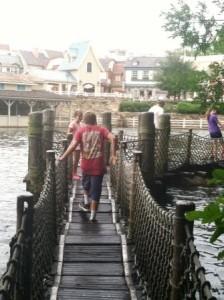 The barrel bridge on Tom Sawyer Island im the Magic Kingdom at Walt Disney World
