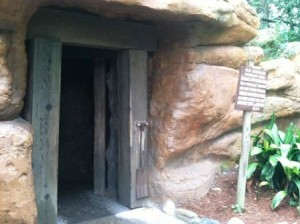 Exploring caves on Tom Sawyer's Island at Walt Disney's World Magic Kingdom
