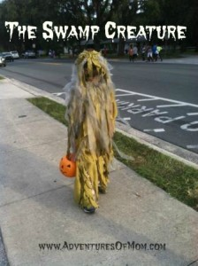 Homemade swamp monster costume for kids