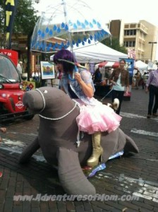 Performance Art on the streets: The Manatee Girl, Downtown Arts Festival, Gainesville, Florida