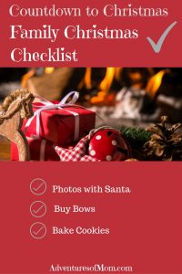 Countdown to Christmas Family Checklist