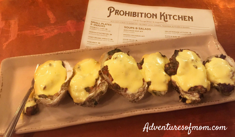 Oysters Rockefeller at Prohibition Kitchen- great burgers too. St. Augustine for Families.